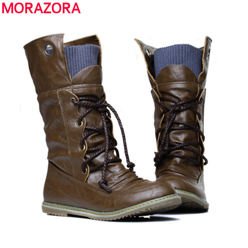 MORAZORA 2018 New fashion motorcycle ankle boots for women autumn winter fashion womens boots pu leather shoes plus size 34-43MORAZORA 2018 New fashion motorcycle ankle boots for women autumn winter fashion womens boots pu leather shoes plus size 34-43