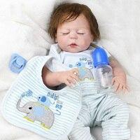 NPKDOLL 22 Inches Baby Reborn Realistic BeBe 55 cm Reborn Doll Baby Handmade Lifelike Full Body Silicone Sleeping Baby Doll Toy