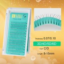BES 1 Tray Short Stem Individual Natural Mink Eyelash Extension Artificial Fake False Eyelashes Premade Fans Volume Lashes