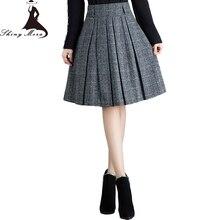 SHINYMORA, весенние шерстяные трапециевидные юбки для женщин,, высокая талия, клетчатая мода, юбки для скейтеров, Женская юбка с карманами, английский стиль