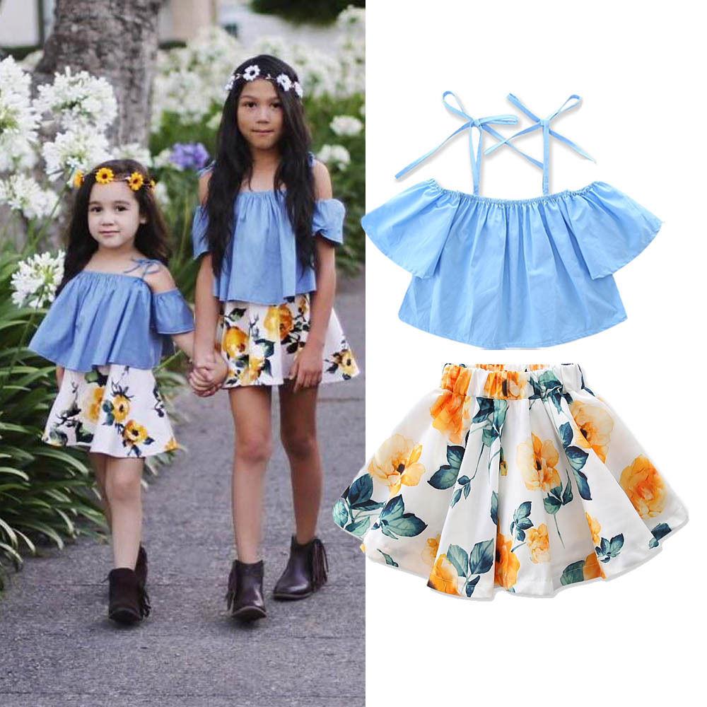 New-Fashion-Children-Girls-Clothes-Off-shoulder-Flare-Sleeve-Denim-T-shirt-TopsFloral-Skirt-2PCS-Outfits-Kids-Clothing-Sundress-1