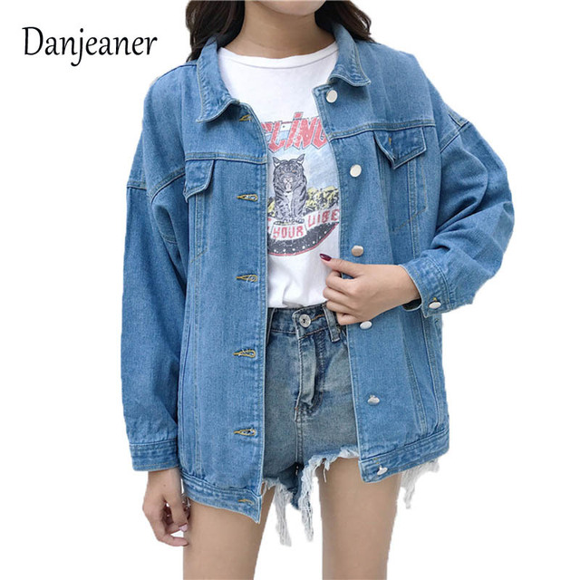aa93485a0 US $16.16 14% OFF|Danjeaner Autumn & Winter Women Denim Jacket 2018  Harajuku BF Wind Jean Jacket Loose Long Sleeve Female Coats Large Size  Female -in ...
