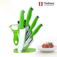 """Original timhome küche keramikmesser set 3 """"4"""" 5 """"6"""" mit Grün Messer Halter Stehen Frische grüne Farbe"""