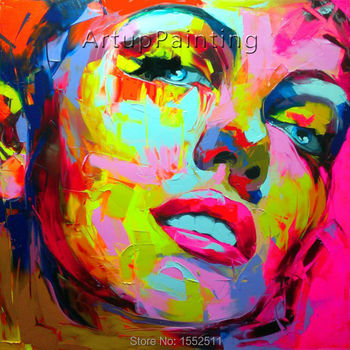 Palette knife painting portrait Palette knife Face Oil painting Impasto figure on canvas Hand painted Francoise Nielly 12-4