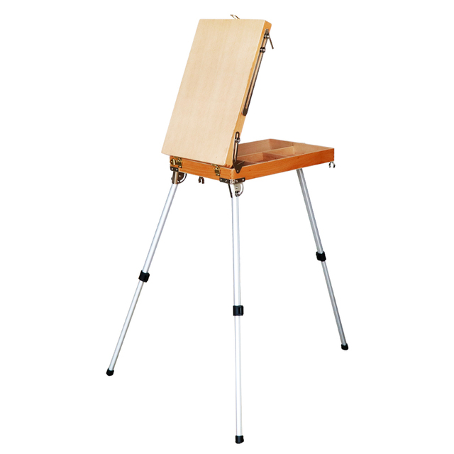 Desktop Laptop Easel Caballete De Pintura Artist Oil Watercolor Painting Easel Stand Wooden Easel Painting Tool Box Art Supplies