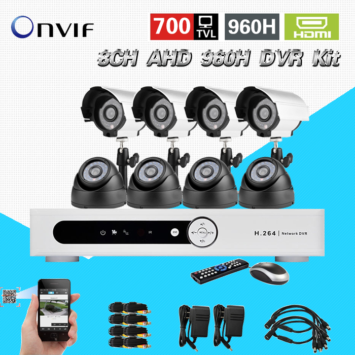 TEATE Security kit camera system 8CH cctv DVR NVR with 700TVL 8pc color outdoor Waterproof cctv camera video surveillance CK-200 teate surveillance 8ch 960h cctv dvr hvr nvr system for ip 700tvl security camera kit with hdmi 3g wifi onvif 2 0 ck 016