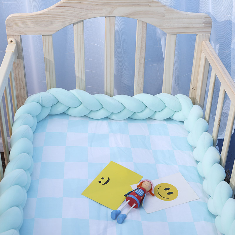 New Baby Bed Bumper Pure Weaving Plush Knot Crib Bumper Kids Bed Baby Crib Protecting Decor