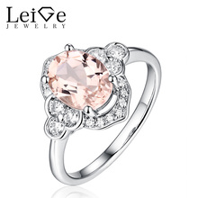 Leige Jewelry Natural Pink Morganite Ring Sterling Silver Oval Cut Wedding Dinner Rings for Women Anniversary Christmas Gift