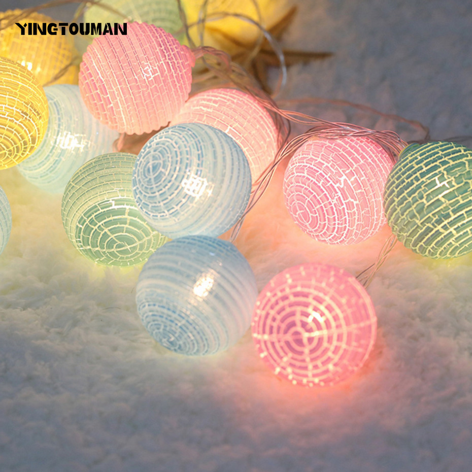 YINGTOUMAN Romantic Corrugated Blub USB Lamp LED String Light Christmas Holiday Wedding Party Decoration Lighting 4m 20led