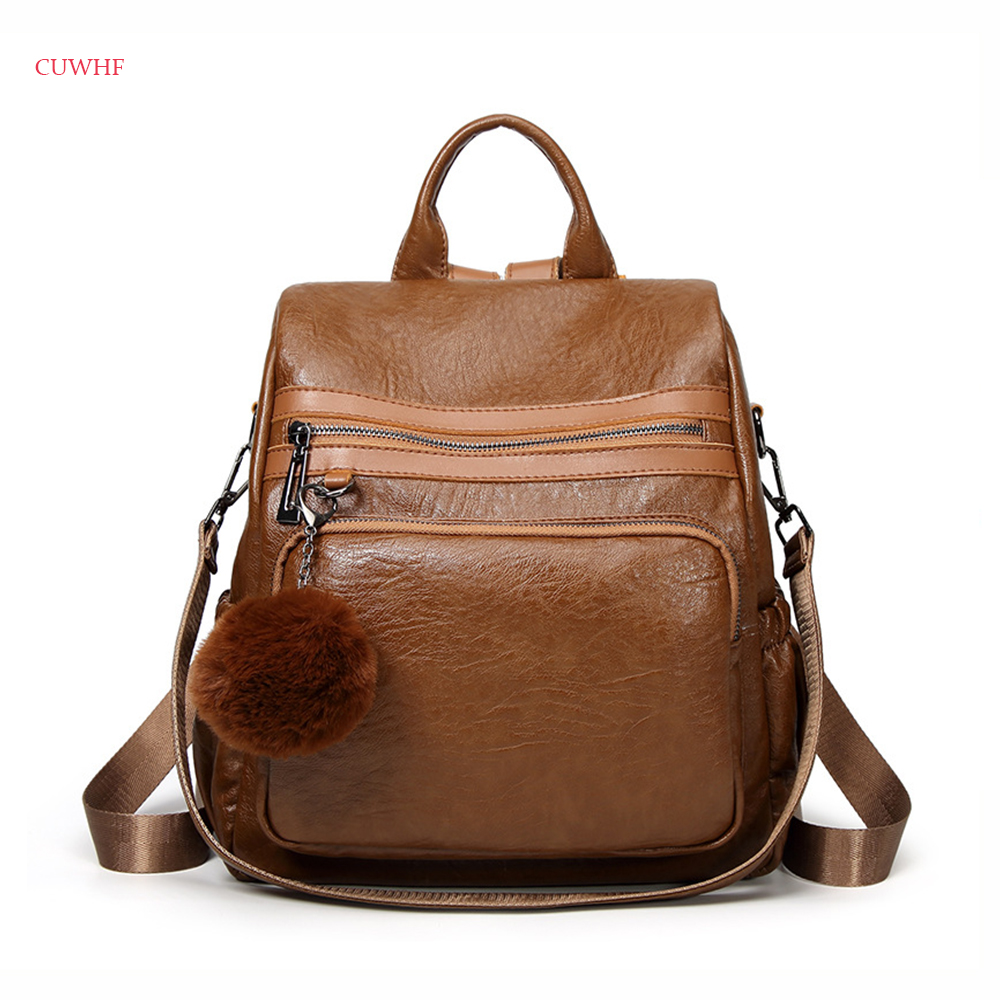 CUWHF New trend lady Backpack Women PU Leather Female Backpacks Teenager School Bags Rucksack Large-capacity travel bag 2018 new women backpacks female trend wild personality embroidery large capacity shoulder bag travel casual girl school backpack