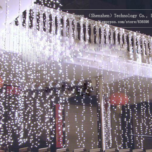 3m*3m 300LEDs lights flashing lane LED String curtain light Christmas home garden festival lights 24V EU US UK AU
