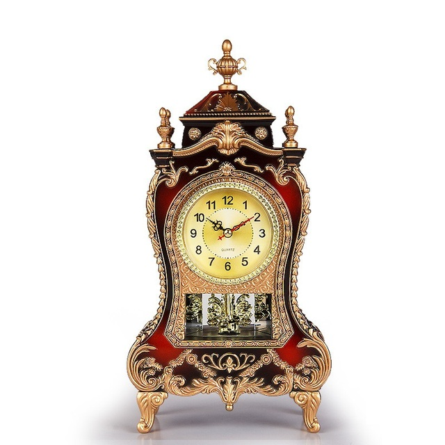 Table Clock Vintage Clock Classical Royalty Sitting Room TV Cabinet Desk  Imperial Furnishing Creative Sit Pendulum