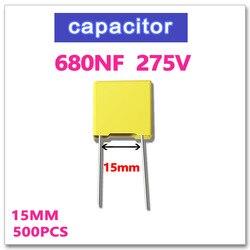 JASNPROSMA 680NF 500 sztuk kondensator bezpieczeństwa X2 275VAC Pitch 15mm 0.68UF 684 10% K 275V 684K