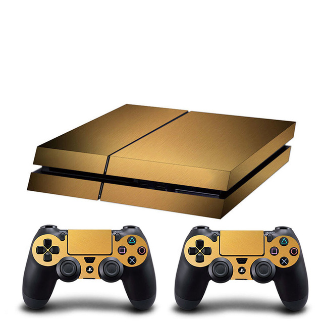 HOMEREALLY PS4 Skin Chrome Gold and Custom Vinyl HD Sticker For Sony Plsaystation4 Console and Controller Skin PS4 Accessory