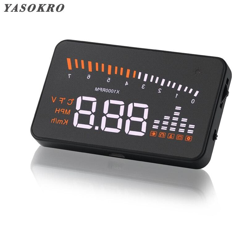 YASOKRO Universal X5 HUD Head Up จอแสดงผล GPS รถจัดแต่งทรงผม OBD2 Digital Speedometer Over-Speed ALARM กระจกโปรเจคเตอร์