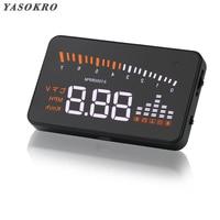 Yasokro universal x5 hud cabeça up display carro gps estilo do carro obd2 velocímetro digital excesso de velocidade alarme brisa projetor