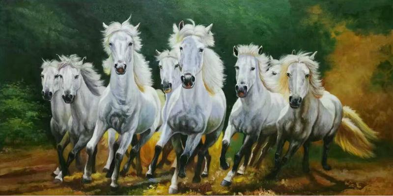 Расписанную высокое качество животного масляной живописи реалист восемь лошадей картина маслом стены Книги по искусству живопись картина