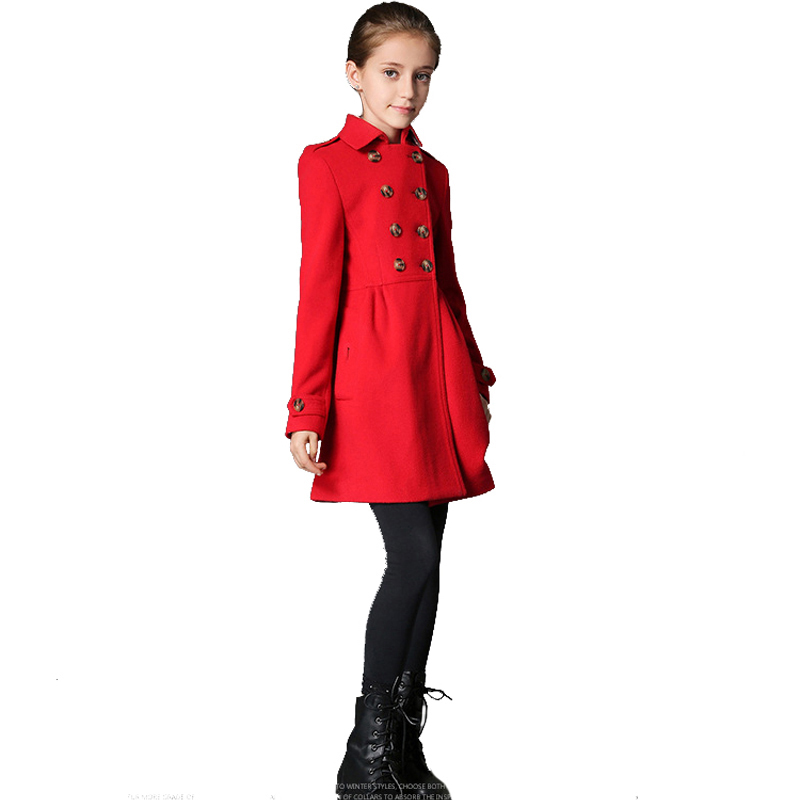 BRAND Winter Girls coat Children Woolen outdoor Wear Kids Long Style Slim Double Breasted Overcoat Hight Quality Classic недорго, оригинальная цена