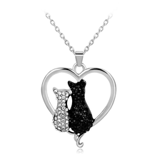 White & Black Couple Cat Necklace Austrian Crystal Love Heart Pendant For Women Wedding Bridal Jewelry