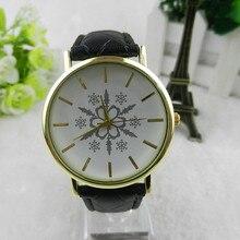 SmileOMG Snowflake Unisex Leather Band Analog Quartz Vogue Wrist Watches Aug 18