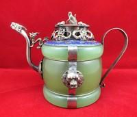 Chinese old Tibetan silver Dragon Lion Green jade Cloisonne teapot Monkey Lid