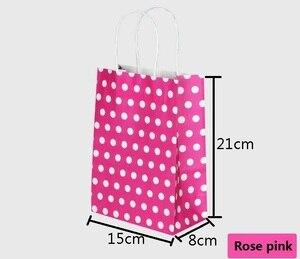 Image 5 - 40 Stks/partij Polka Dot Kraftpapier Gift Bag Met Handvatten 21*15*8Cm Hotsale Festival Gift Bags diy Multifunctionele Boodschappentassen