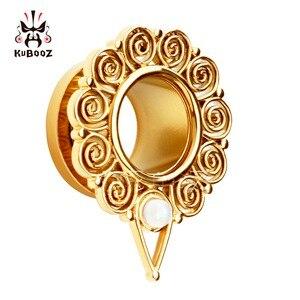 Image 4 - KUBOOZ Piercing screw back ear plugs piercing body jewelry gold ear tunnels stainless steel opal gauges wholesale