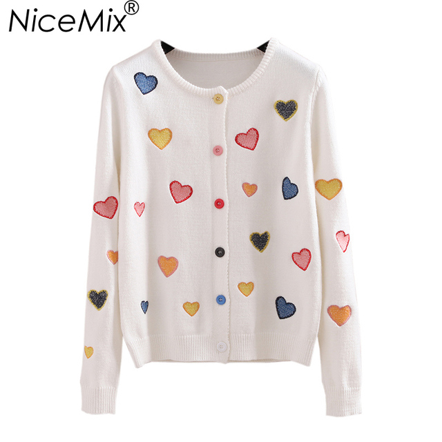 NiceMix Casual Knitted Cardigan Women Sweet Heart Embroidery Slim Kawaii Cardigans Sweaters 2017 Autumn Winter Pull Femme