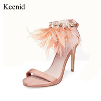 Kcenid Pink high heeled shoes woman fashion feather rhinestone ankle strap summer sandals open toe stiletto shoes plus size 43