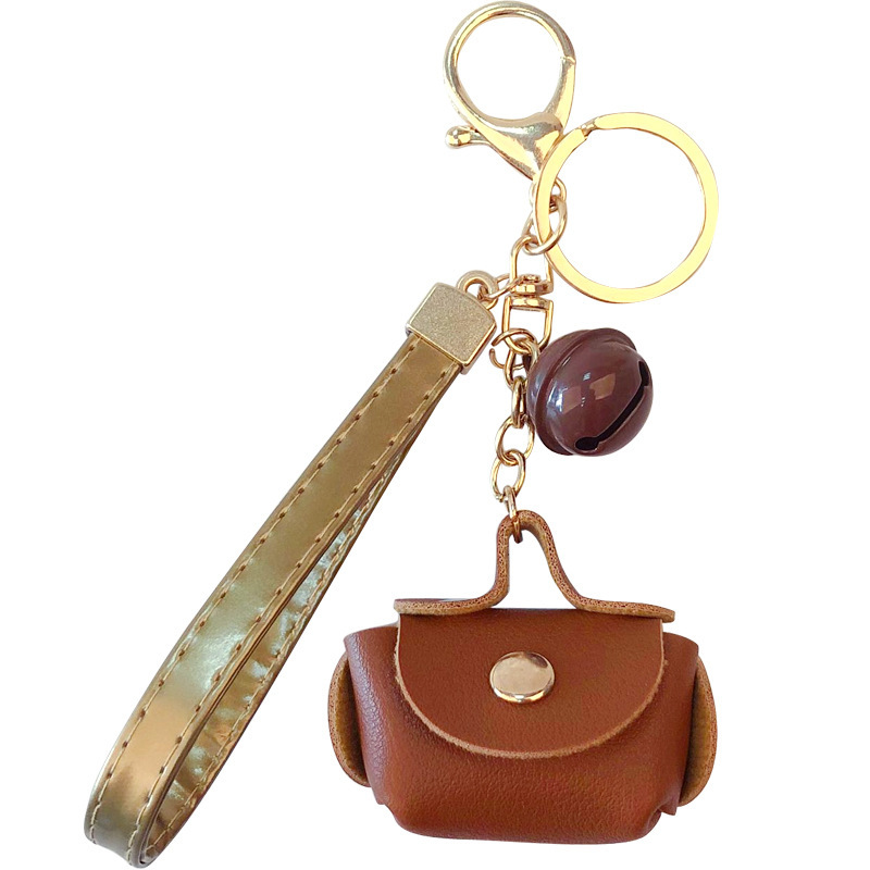 Fashion Mini Leather Bag Shaped Key Chain Creative Small Bells Key Rings Holder for Women Girl Charms Bags Key Chains Pendant
