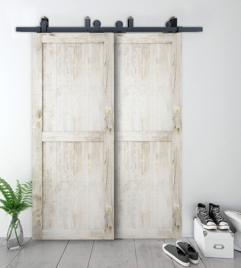 DIYHD Bypass Sliding Barn Wood Door Hardware Top Mount Rustic Black Sliding Barn Door Kit