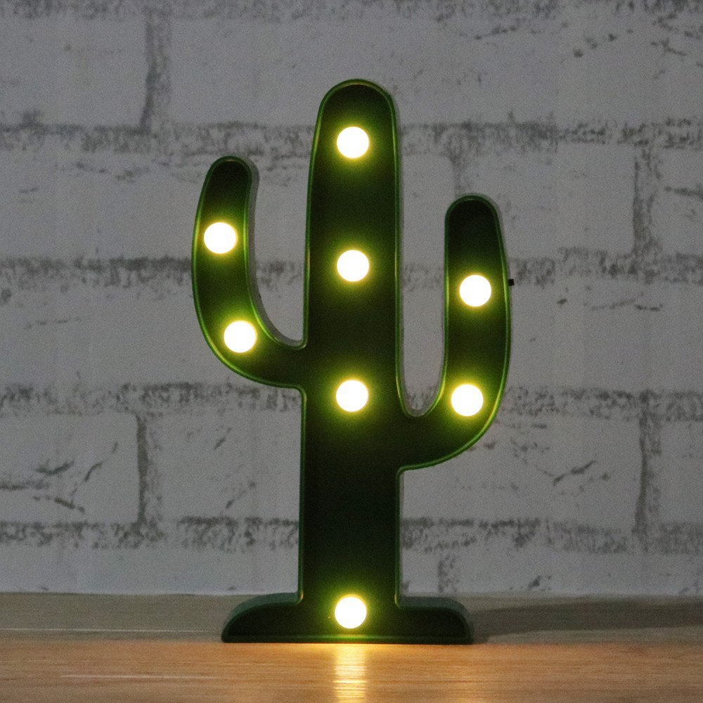 Adeeing 3D Söt Kaktus Ljuslampa LED Dekorativ Baby Nattlampa Dim - Nattlampor - Foto 4