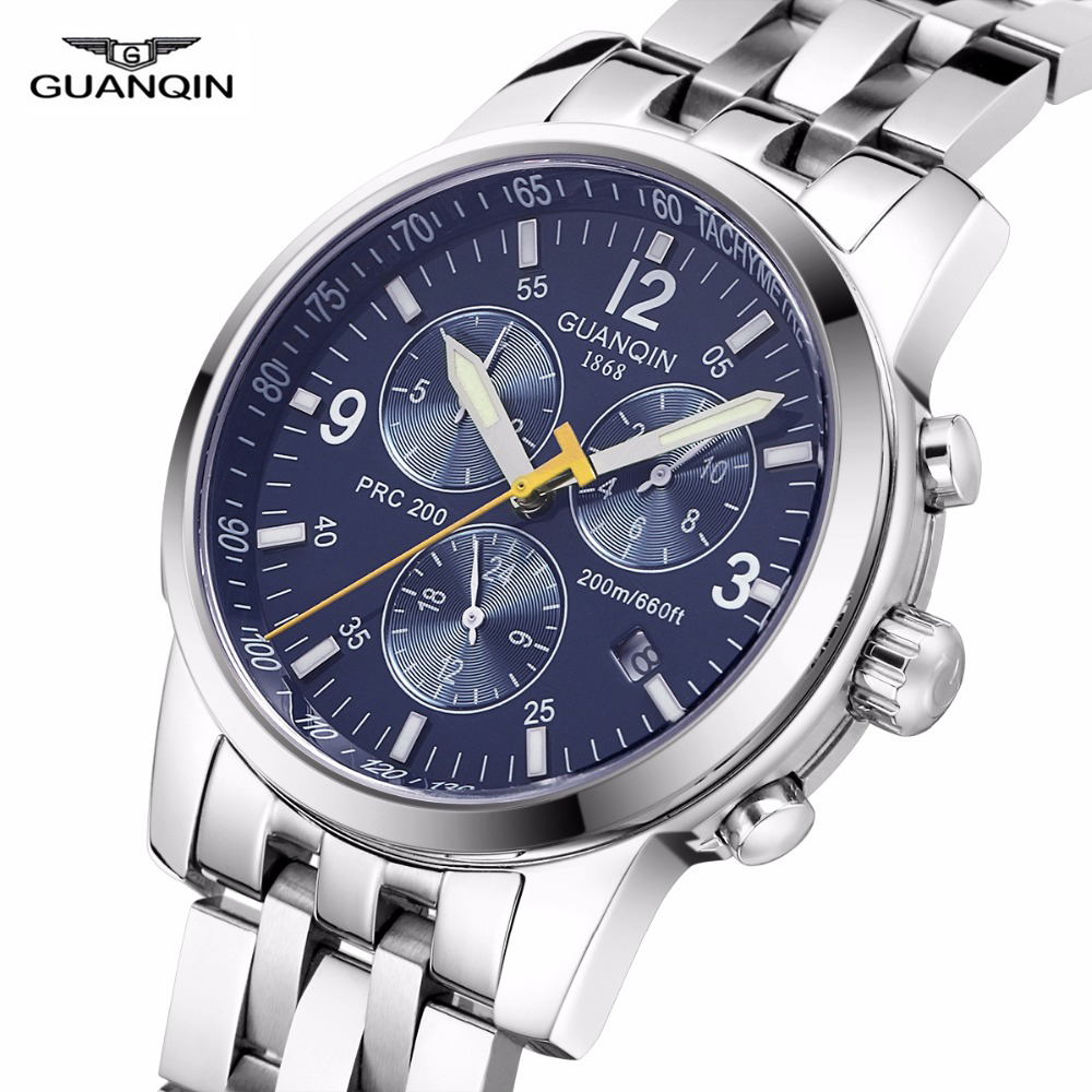 GUANQIN Automatic Watch Men Professional Diving Sport Watches men Relogio Masculino 100m Waterproof Luminous Calendar Full