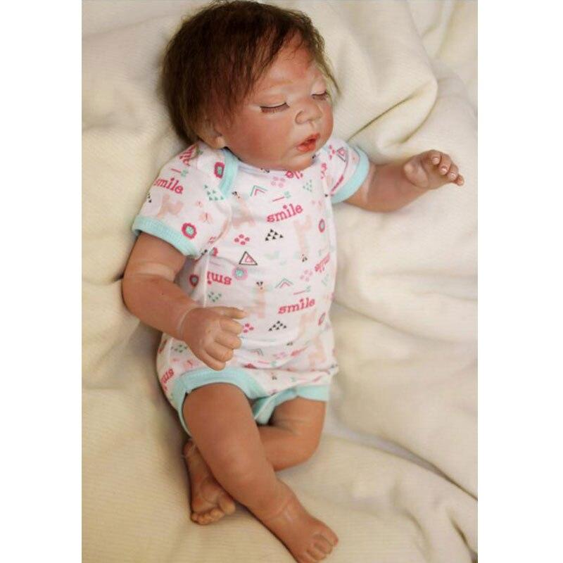 ФОТО Sleeping Boneca Bebes Reborn Toys 55cm Soft Silicone Reborn Baby Dolls 22inch Lifelike Newborn Relistic Juguetes Toys Brinquedos