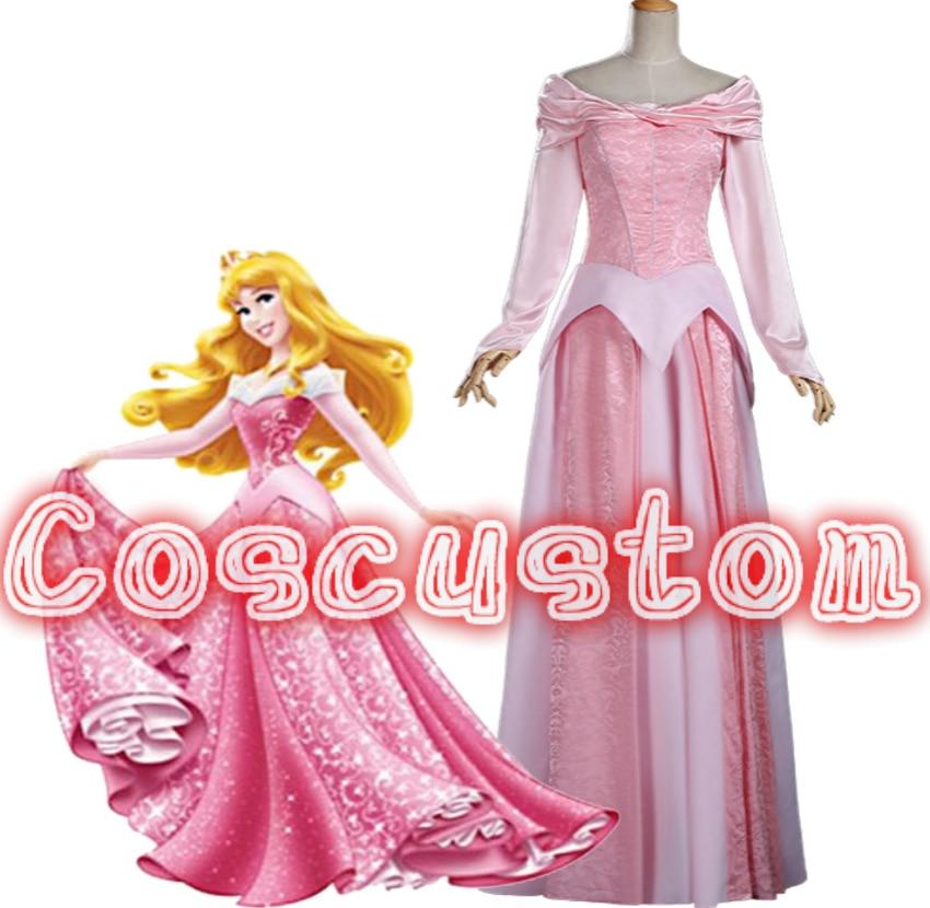 Coscustom High Quality Adult women Sleeping Beauty Pink Princess Aurora dress Aurora costume Halloween Cosplay Costume