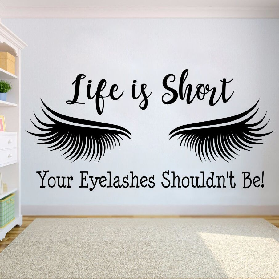 634c7c0b8d3 Eyelash Extension Wall Sticker Eyelashes Quote Wall Vinyl Decal Beauty  Salon Decor Eye Make Up Removable Window Stickers AY1122