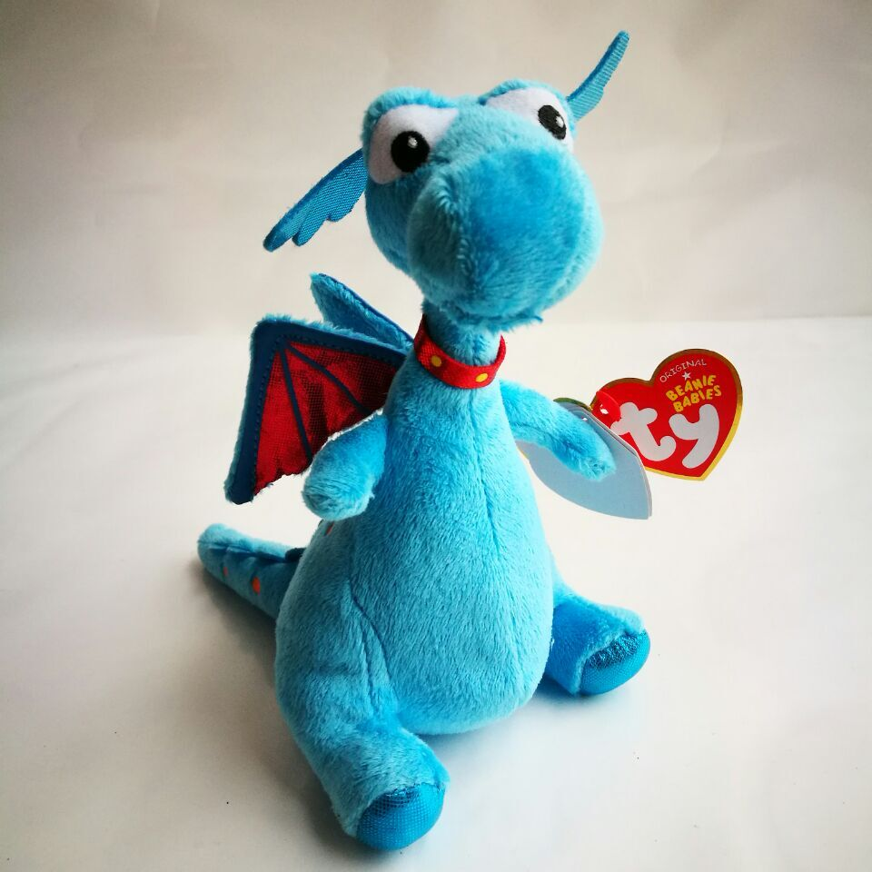 Stuffy 1pc 18cm Ty Beanie Babies Blue Dragon Doc