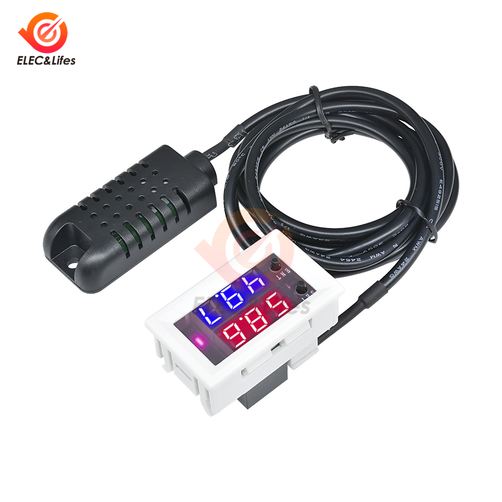 W2026C Digital Humidity Moisture Meter DC 12V Hygrometer Humidity Controller Detector 0~99%RH Adjustable W/ Humidity Sensor