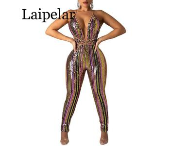 Colorful Striped Sequins Bandage Jumpsuit Sexy Deep V Neck Spaghetti Straps Night Club Party Outfits Women Romper Overall