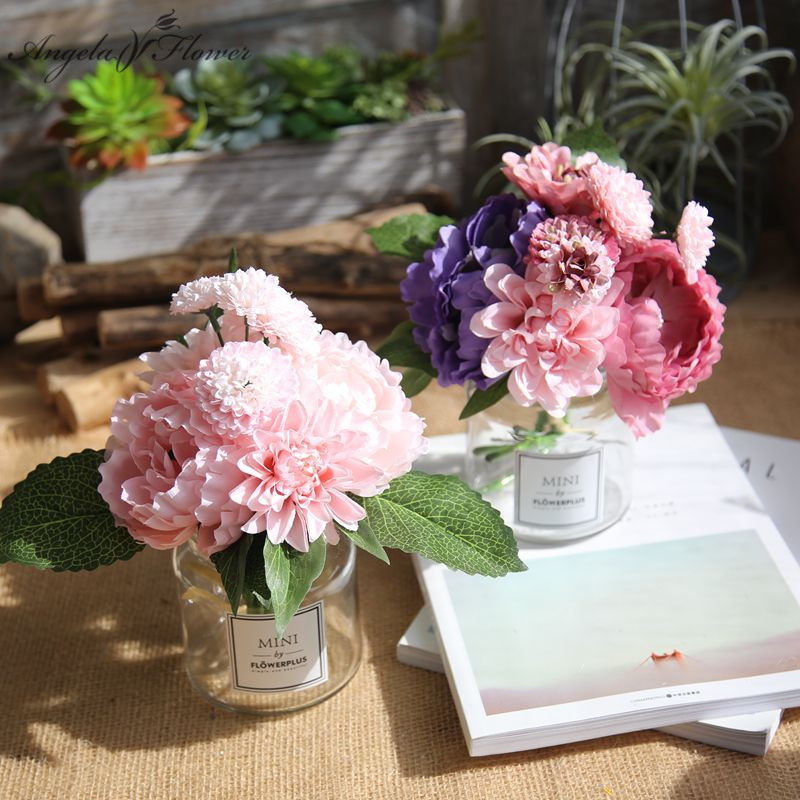 30cm Wedding Bride Bouquet Artificial Hand Flower Rose Peony