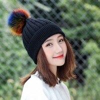 Skorpion Mingjiebihuo Jesień i zima futra lisa kapelusz z wełny piłka kobieta zima fala dzikich ciepłe Koreański dzianiny kapelusz moda kobiety dziewczyny