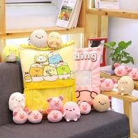 Kawaii animals plush toy Rabbit/Pig/Unicorn sleeping cushion pillow soft toys for children one bag bunny stuffed christmas gift