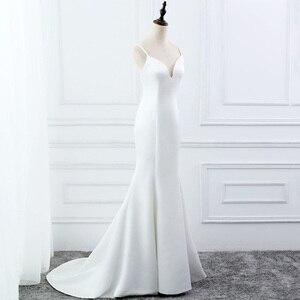 Image 4 - E JUE SHUNG beyaz basit yaz denizkızı gelinlik v yaka spagetti sapanlar Backless Boho gelinlikler robe de mariage