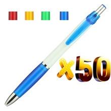 הרבה 50 יחידות Retracktable פלסטיק נאש כדור עט, צבע לתפוס, לבן חבית כדורי, מותאם אישית קידום מתנה, להוסיף חברת לוגו