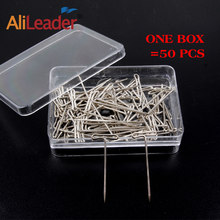 Alileader 50pcs T Pin 14mm*38mm for Wig Fix on Canvas Head Wig Toupee Making Tools Modelling, Postiing Memos DIY Tools(China)