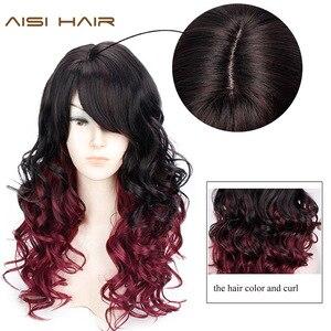 Image 4 - ロング波状赤黒髪ミックスカラー女性ウィッグ耐熱合成かつら女性のための前髪とアフリカ系アメリカ人髪