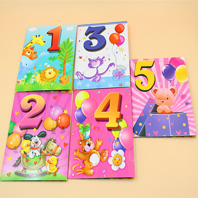 20 Pieces LotCute Kawaii 1 10 Year Old Birthday Card Lovely Cartoon Animal Greeting Cards Postcard Party Decoration
