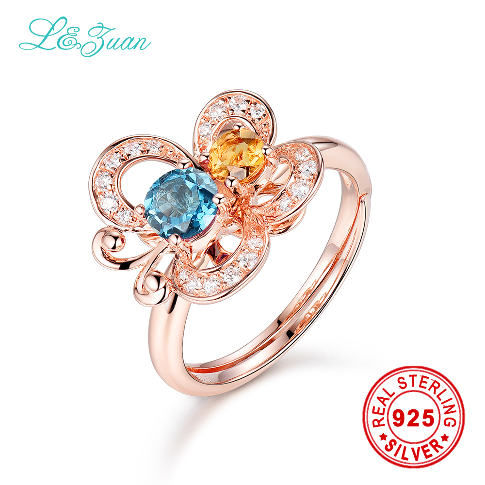 l&zuan Brand Luxury 0.535ct Topaz Blue Stone Prong Setting Ring Jewelry 925 sterling silver ring sterling silver jewelry ring