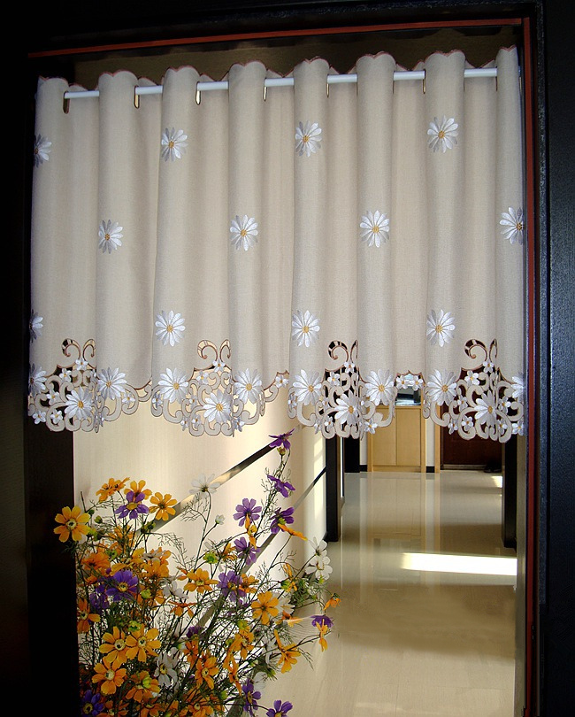 British Half-curtain Embroidered Window Valance Customize