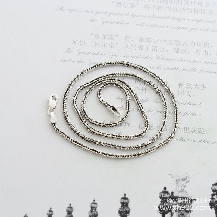 925 sterling silver necklace, thick 1.6 mm fox tails Snake chain - Fine Jewelry - Photo 4